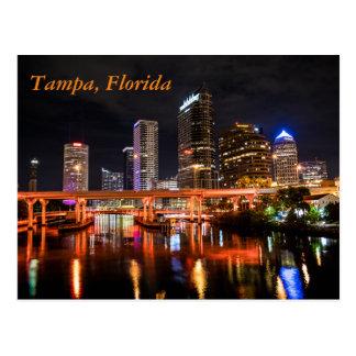Tampa céntrica, la Florida por noche Tarjeta Postal