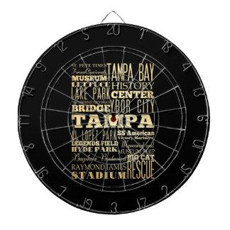 Tampa City of Florida State Typography Art Dartboard