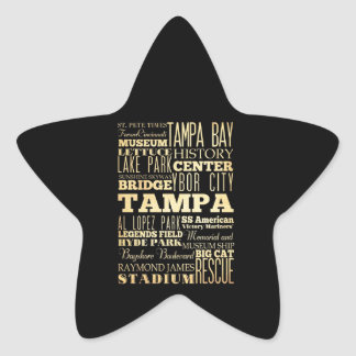 Tampa City of Florida State Typography Art Star Sticker