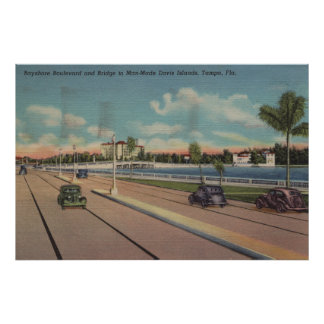 Tampa, FL - vista del bulevar de Bayshore, puente Póster