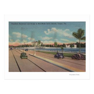 Tampa FL - vista del bulevar de Bayshore puente Postales