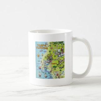 Tampa Florida Cartoon Map Classic White Coffee Mug