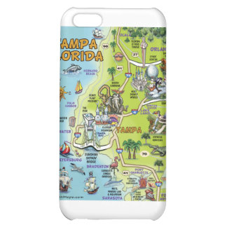 Tampa Florida Cartoon Map iPhone 5C Case