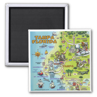 Tampa Florida Cartoon Map Magnet