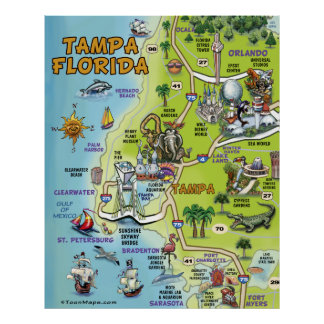 Tampa Florida Cartoon Map Poster