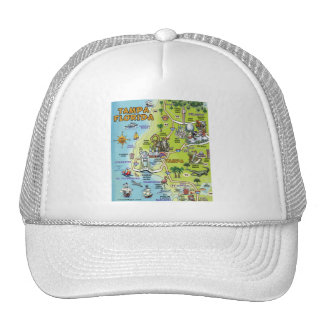 Tampa Florida Cartoon Map Trucker Hat