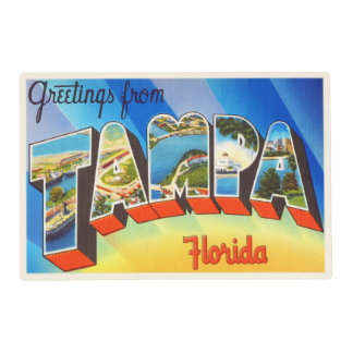 Tampa Florida FL Old Vintage Travel Souvenir Placemat