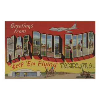 Tampa, Florida - Greetings From Mac Dill Field Poster