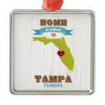 Tampa, Florida Map – Home Is Where The Heart Is Metal Ornament