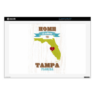 """Tampa, Florida Map – Home Is Where The Heart Is 17"""" Laptop Skins"""