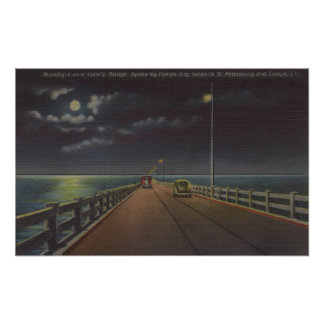 Tampa, Florida - Moonlit View of Gandy Bridge Poster