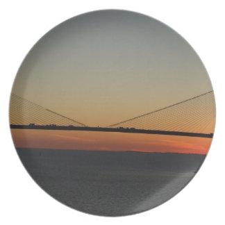 Tampa Florida Sunshine Skyway Bridge Sunset Dinner Plate