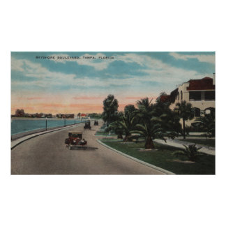 Tampa, Florida - View of Bayshore Blvd Poster
