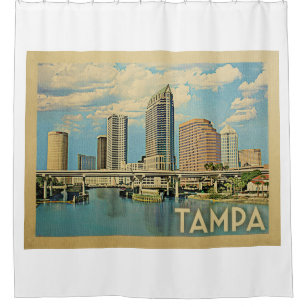 Tampa Florida Vintage Travel Shower Curtain