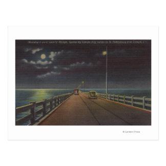Tampa la Florida - vista iluminada por la luna de Tarjetas Postales