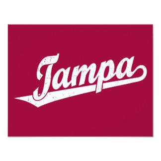 Tampa script logo in white distressed card