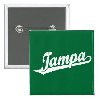 Tampa script logo in white distressed pinback button