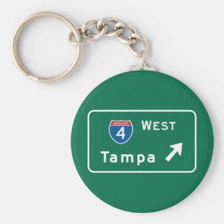 Tampa, señal de tráfico de FL Llavero Redondo Tipo Pin