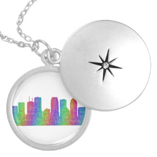 Tampa skyline silver plated necklace