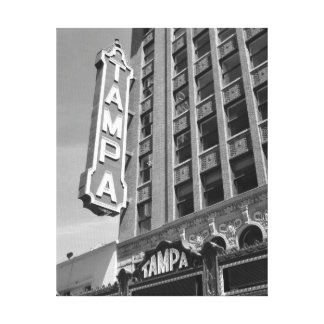 Tampa Theatre Theater Black and White Photo Canvas
