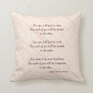 """Tan 16"""" Square Pillow Apache Blessing Wedding Gift"""