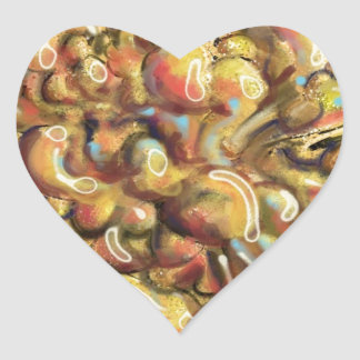 Tan Abstract Art Thing Heart Sticker