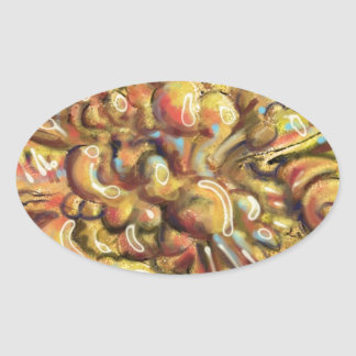 Tan Abstract Art Thing Oval Sticker