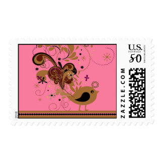 Tan Abstract Bird on Pink Postage Stamps