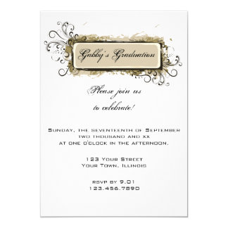 Tan Abstract Floral Graduation Party Invitation