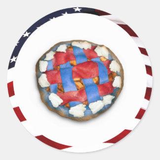 Tan americano como una empanada de Apple blanca y Pegatina Redonda