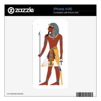 Tan Ancient Egyptian Man in Headdress Holding Ankh iPhone 4 Skin