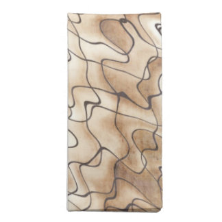 Tan and Beige with Black Squiggly Lines Cloth Napkin