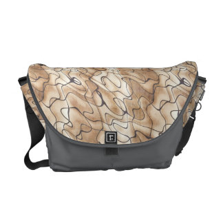 Tan and Beige with Black Squiggly Lines Messenger Bag