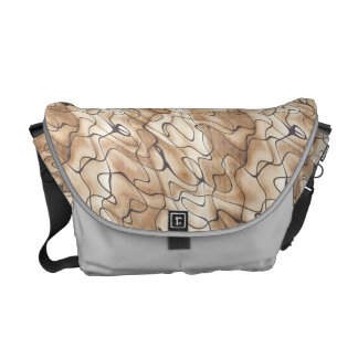 Tan and Beige with Black Squiggly Lines Messenger Bags