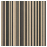 [ Thumbnail: Tan and Black Colored Lined/Striped Pattern Fabric ]