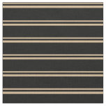 [ Thumbnail: Tan and Black Colored Lines/Stripes Pattern Fabric ]