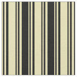 [ Thumbnail: Tan and Black Colored Stripes/Lines Pattern Fabric ]