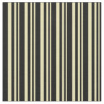 [ Thumbnail: Tan and Black Colored Stripes Pattern Fabric ]