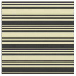 [ Thumbnail: Tan and Black Lined/Striped Pattern Fabric ]