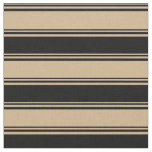 [ Thumbnail: Tan and Black Lines Fabric ]