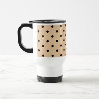 Tan and Black Polka Dot Pattern. Mug
