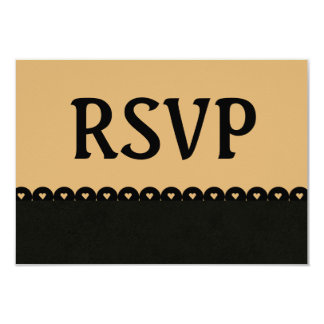Tan and Black RSVP Hearts Scalloped Lace V09 Card