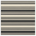 [ Thumbnail: Tan and Black Striped Pattern Fabric ]