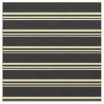 [ Thumbnail: Tan and Black Stripes Pattern Fabric ]