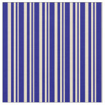 [ Thumbnail: Tan and Blue Colored Striped/Lined Pattern Fabric ]