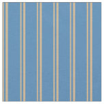 [ Thumbnail: Tan and Blue Colored Stripes Fabric ]