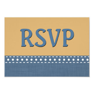 Tan and Blue Jeans RSVP Stitches Polka Dots V10R Card