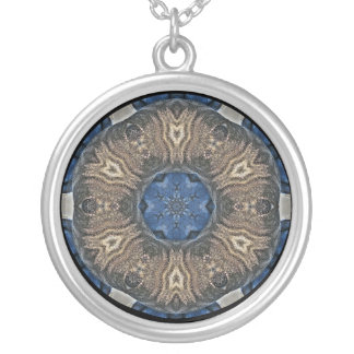 Tan and Blue Kaleidoscope Round Pendant Necklace