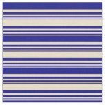 [ Thumbnail: Tan and Blue Lined Pattern Fabric ]