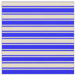 [ Thumbnail: Tan and Blue Lines Fabric ]